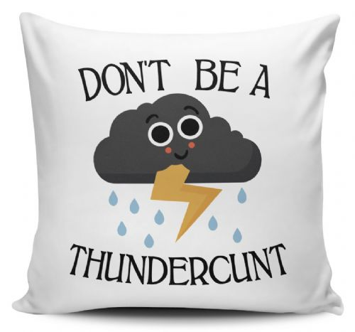 Don't Be A Thundercunt Funny Rude Thundercloud Novelty Cushion Cover